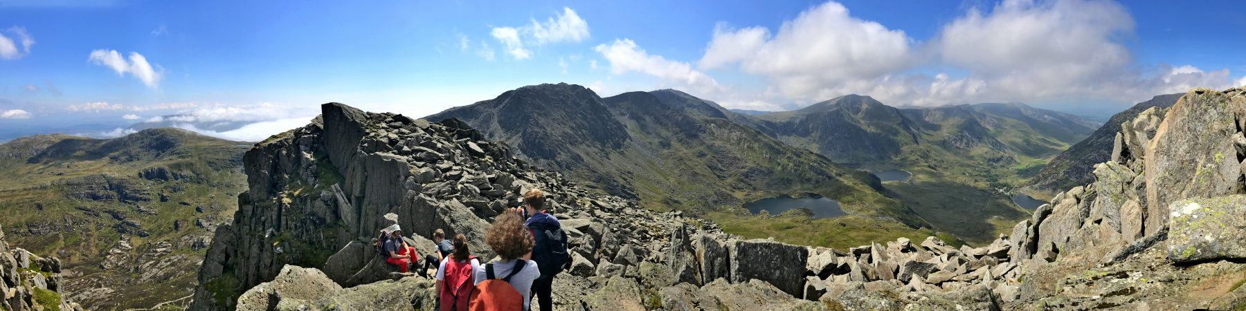 mountain walking activity in Snowdonia with pupils