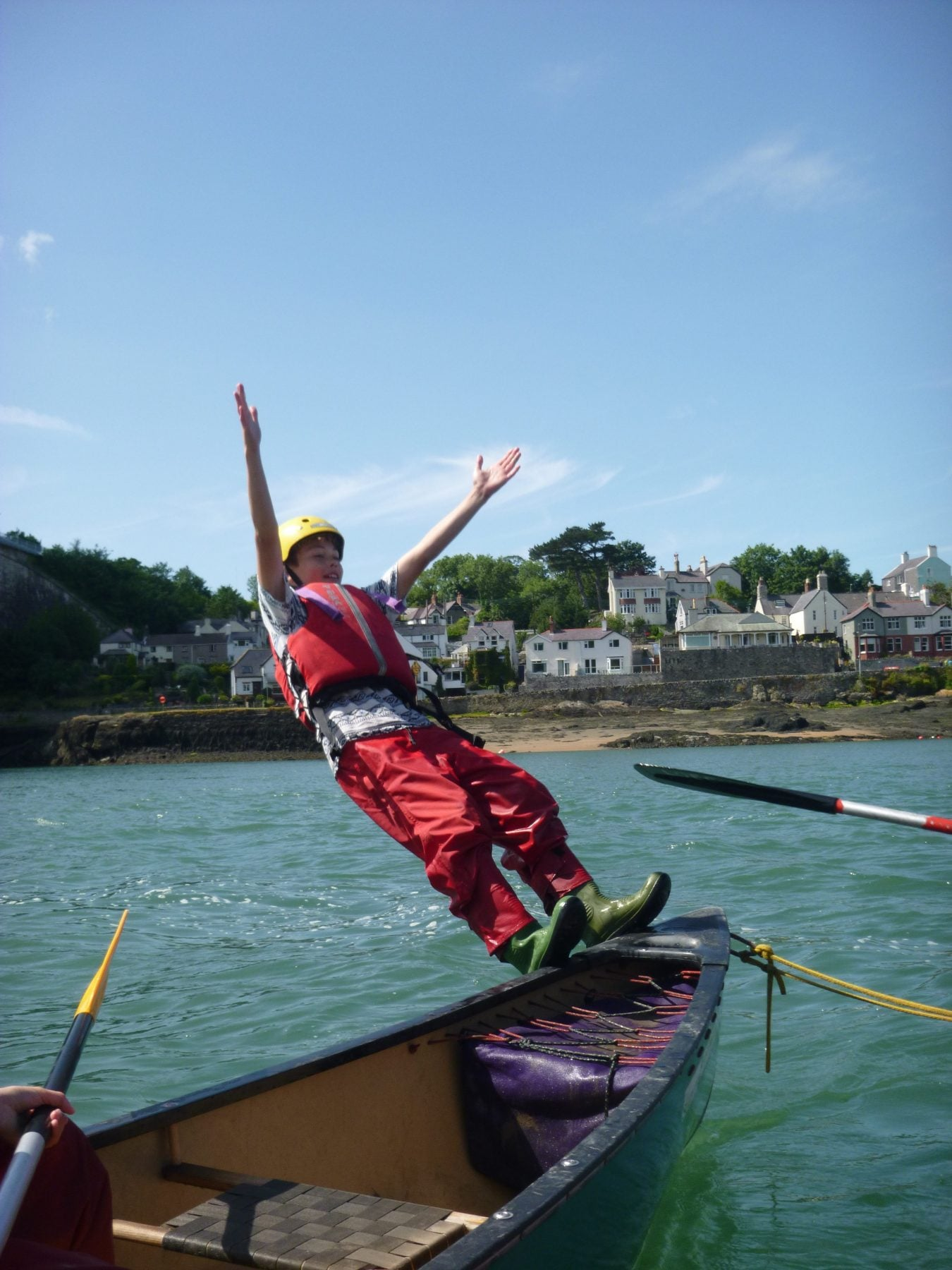 Jumping overboard, canoe journey in Menai Straits, Anglesey