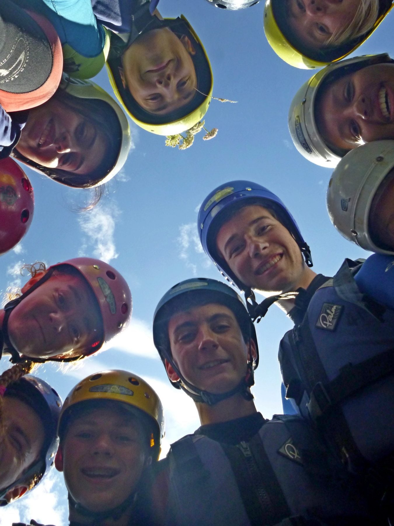 Circular group of young people before coasteering on DofE Gold Residential Arete