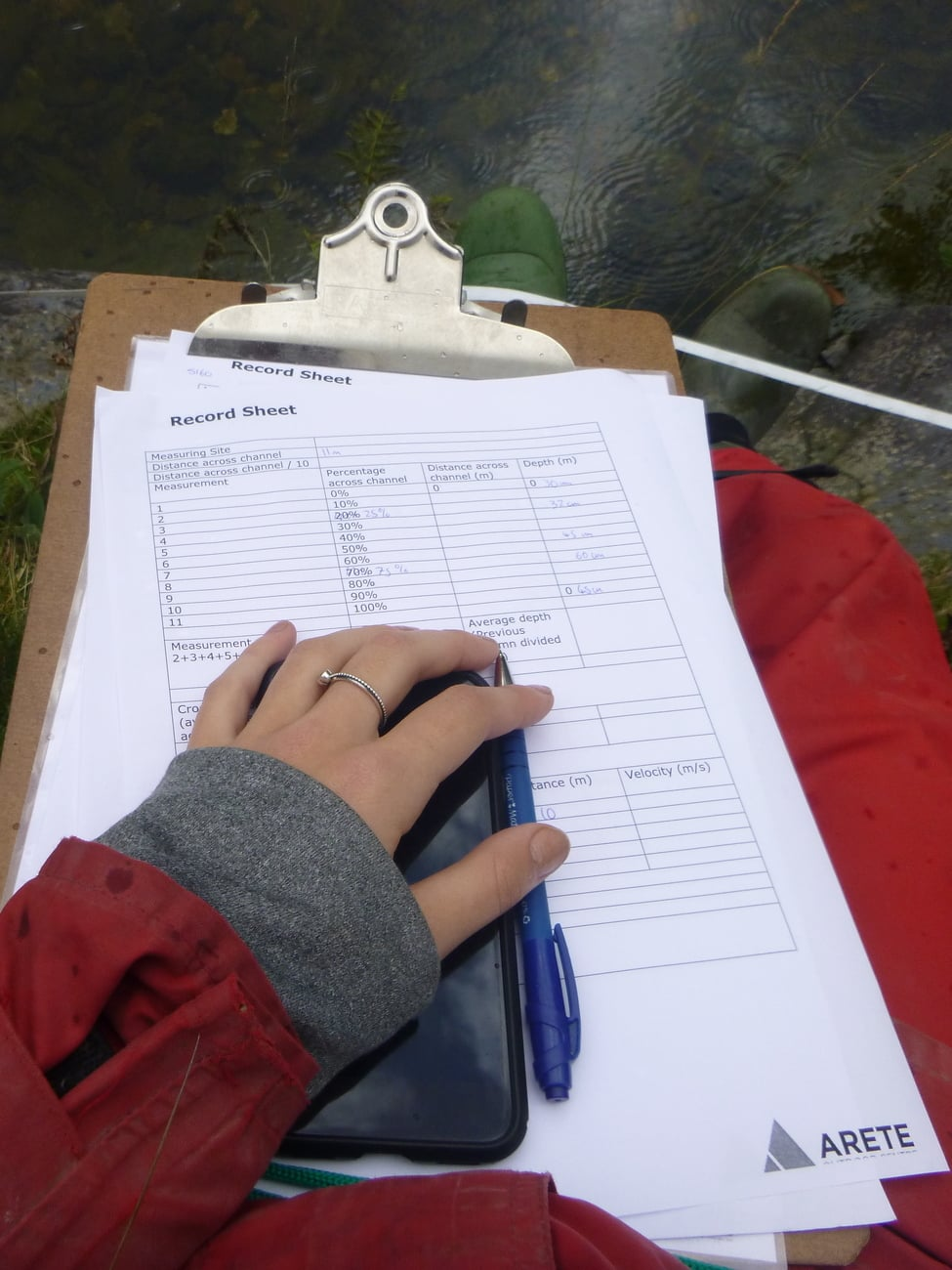Clipboard, hand noting field work river data