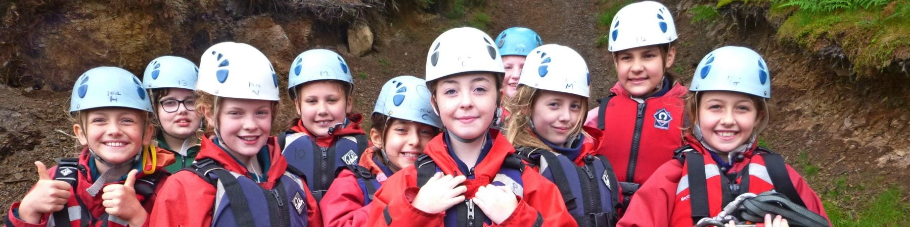 Group kitted out, gorge scramble activity primary school pupils Snowdonia