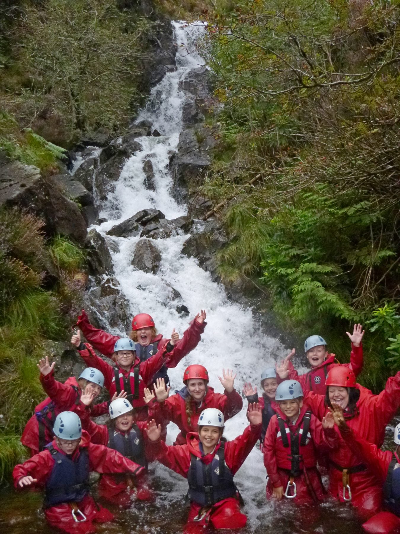 Primary group, gorge scramble in river, Wales