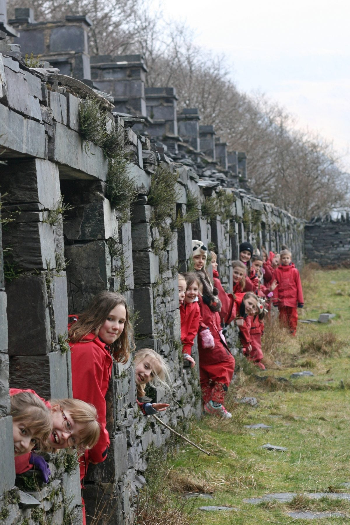A group of children sticking heads out of windows of old slate houses