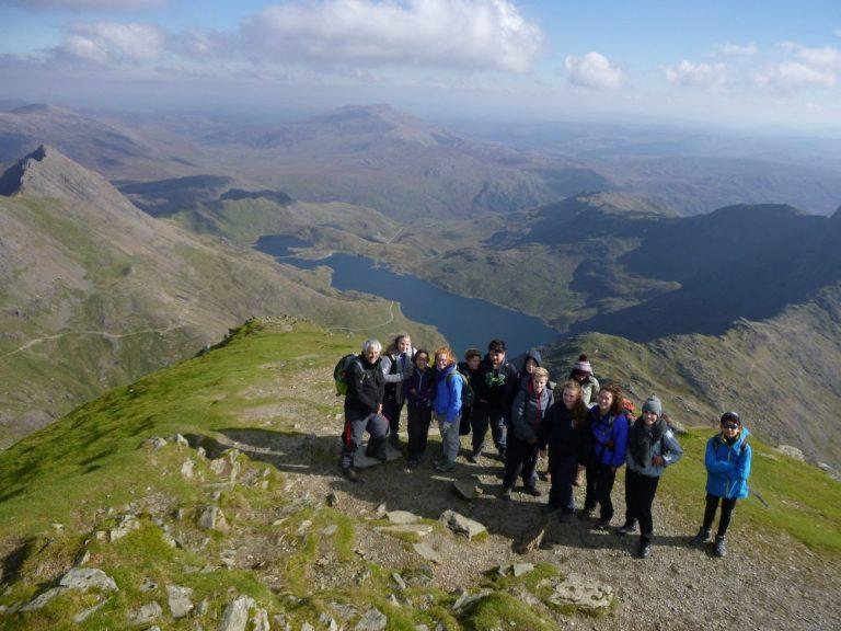 School group stood on the PYG track Snowdon Mountain