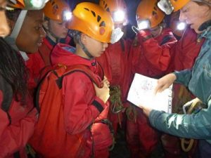 Students look at undergrounds map and choose where to go next on their educational residential course