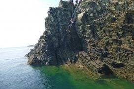 zip line coasteering activity Anglesey