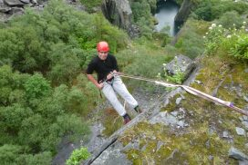 abseil cliff outdoors North Wales