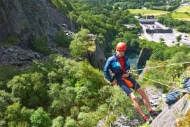 abseil cliff outdoors Wales