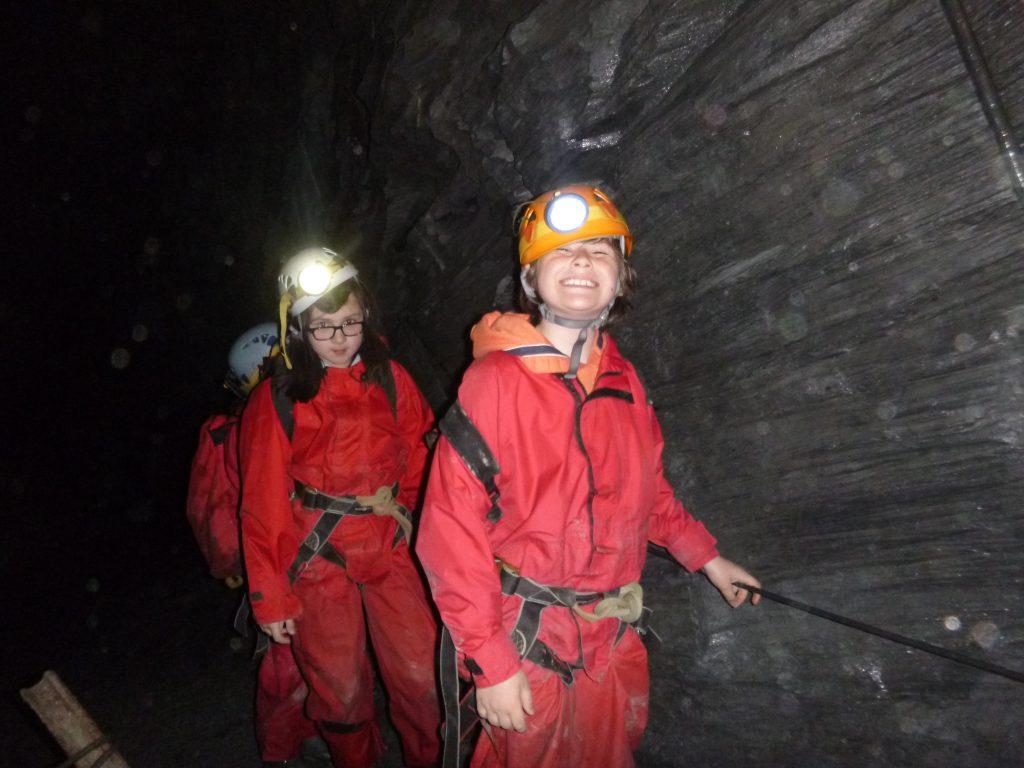 School trip underground in a slate mine