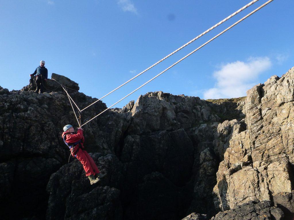 Outdoor activity course on zip line