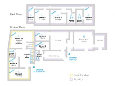 Dormitory map of Bryn Eryr. Arete Centre