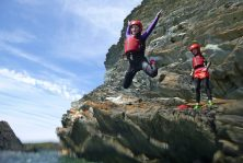 Coasteering on the Sea cliffs of Anglesey, North Wales