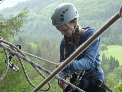 North Wales outdoor abseil by school pupil
