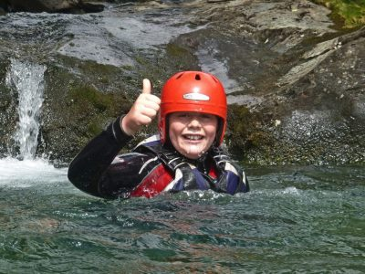 swimming in the river canyon on activity in North Wales