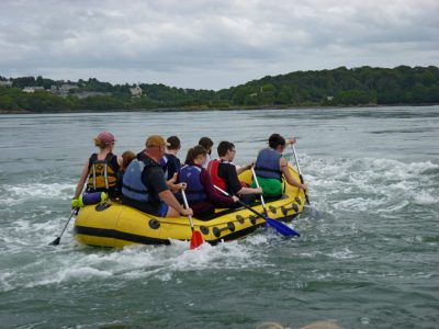 Rafting and canoeing in menai straits on residential trip
