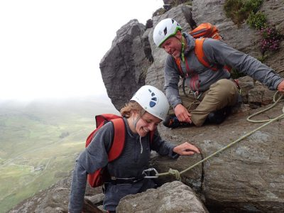 mountain scrambling in wales snowdonia for outdoor learning