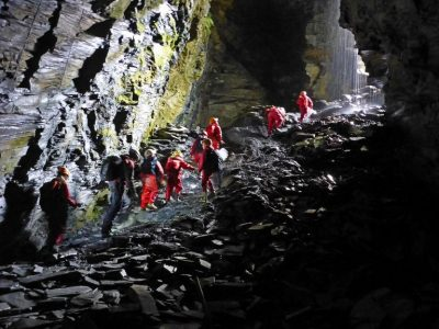Arete Outdoor Centre caving underground in cavern