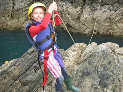 Zip Line while Coasteering in Wales